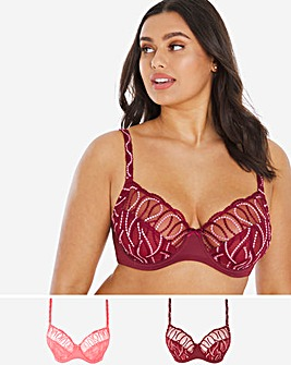 2 Pack Annabelle Embroidery Bras