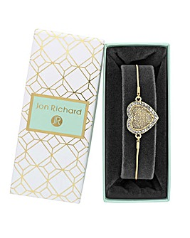 Gold Plated Mother Of Pearl Heart Filigree Toggle Bracelet- Gift Boxed