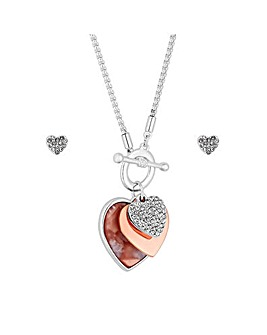 Mood Rose Gold Plated Resin Heart Set