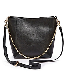 Premium Leather Hobo Bag With Chain Detail