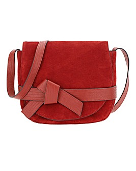 Bow Detail Leather Saddle Bag