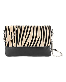 Zebra Print Leather Folded Clutch Bag