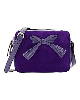Tassel Detail Suede Cross Body Bag