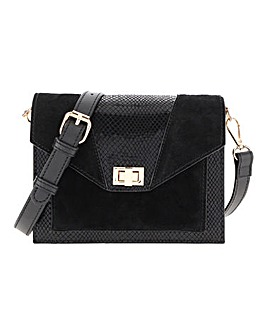 Leather Panel Cross Body Bag
