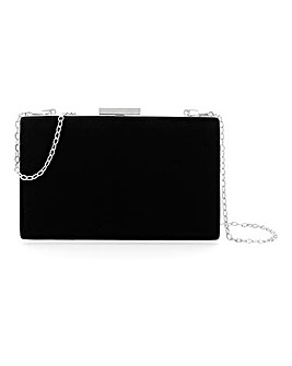 Velvet Finish Box Clutch Bag