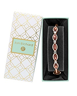 Rose Gold Plated Pink Crystal Navette Stone Bracelet - Gift Boxed