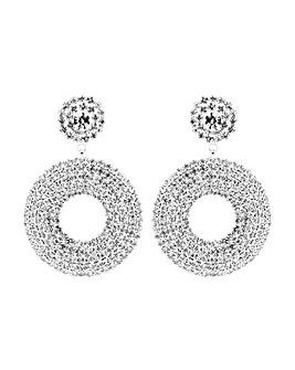 Mood Silver Double Circle Drop Earring