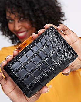 BLACK CROC BOX CLUTCH WITH TORT CLASP