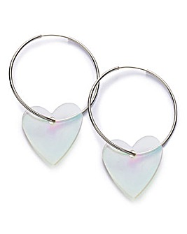 Perspex Heart Hoop Earrings