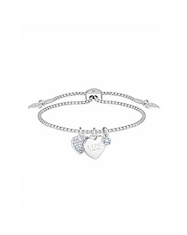 Silver Plated Crystal Heart Charm Toggle Bracelet