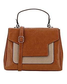 Foldover Tan Shoulder Top Handle Bag