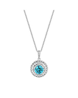Simply Silver Double Halo Aqua Necklace