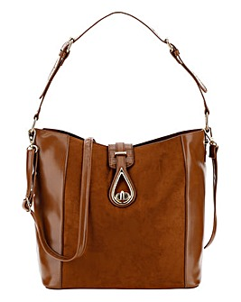 Tan Hobo Bag With Gold Hardwear