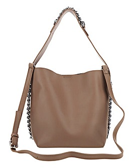 Taupe Chain Hobo Bag