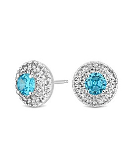 Simply Silver Double Halo Stud Earring