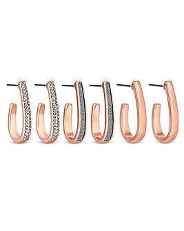 Mood Rose Gold Hoop Earrings - Pack Of 3