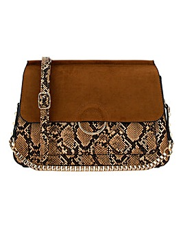 70's Snake Print Shoulder Bag With Chain Strap