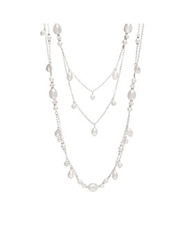 Silver Plated Mix Pearl Multirow Necklace