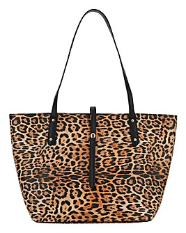 Leopard Turnlock Detail Tote Bag