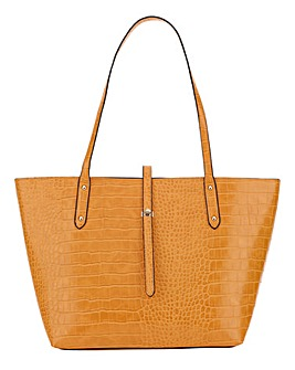 Ochre Croc Turnlock Detail Tote Bag