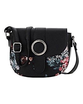 Dark Floral Saddle Cross Body Bag