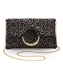 Ring Detail Foldover Leopard Clutch