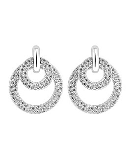 Simply Silver Double Ring Drop Earring