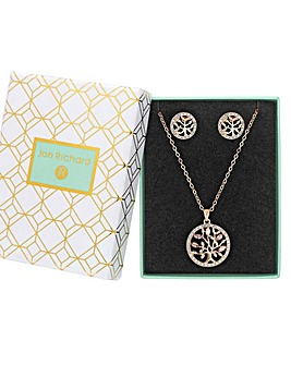 Rose Gold Plated Pink Crystal Tree Of Life Necklace - Gift Boxed