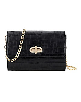 Black Croc Turnlock Bag