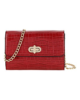 Red Croc Foldover Turnlock Clutch Bag