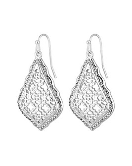 Mood Silver Filigree Teardrop Earrings