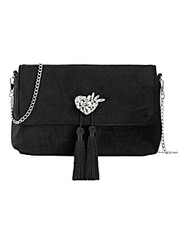 Velvet Heart Detail Clutch Bag