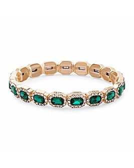 Gold Plated Emerald Green Crystal Rectangle Stretch Bracelet