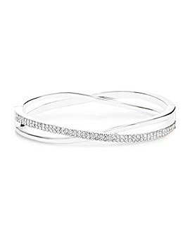 Silver Plated Pave Crossover Bangle