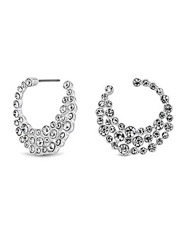 Mood Silver Crystal Front & Back Earring
