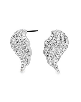 Silver Plated Pave Angel Wing Stud Earring