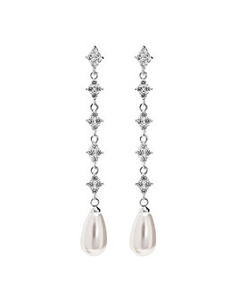 Jon Richard Silver Floral Pearl Earrings
