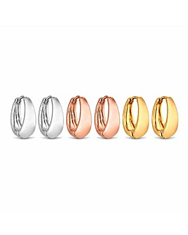 Silver Plated Multi Tone Polished Hoop Earrings  - Pack Of 3