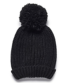 Ribbed Knitted Bobble Hat