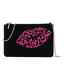 Glitter Leopard Lips Clutch Bag