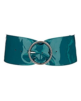 Patent Teal Waist Belt WIth Circle Buckle