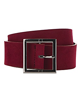 Burgundy Square Buckle Belt