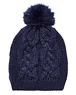 Cable Knit Faux Fur Bobble Hat