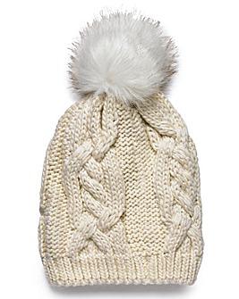 Faux Fur Pom Pom Bobble Hat