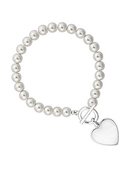 Mood Pearl Heart T-Bar Bracelet