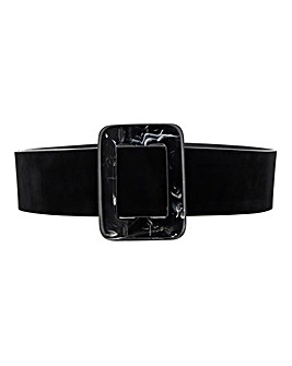 Suede Belt With Marble Square Buckle
