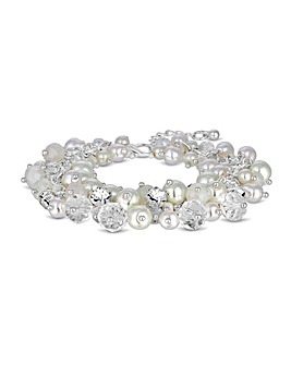 Silver Plated Pearl Cluster Bracelet