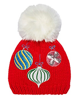 Christmas Baubles Novetly Bobble Hat