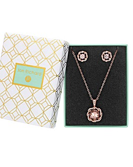 Rose Gold Plated Pink Crystal Round Pendant Set - Gift Boxed