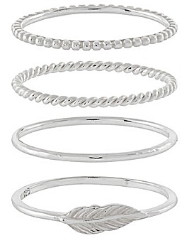 Sterling Silver 4X Pretty Stacking Set